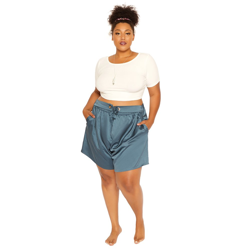 Astra Signature Women' s Plus Size Casual Elastic Waist Summer Shorts Solid Self Tie Pockets