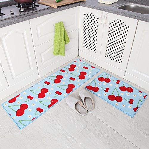 carvapet-2-piece-non-slip-kitchen-mat-rubber-backing-doormat-runner-rug-set-cherry-design-light-blue