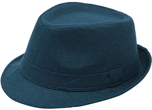 Simplicity Unisex Timelessly Classic Manhattan Fedora Hat, Navy (Classy Outfits For Men)