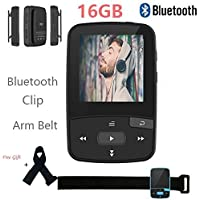 16GB Bluetooth MP3 Player with Clip for Running Lossless Sound Mini Sport Music Player with FM Radio Pedometer-Expandable Micro SD Card to 64GB + Free Gift arm band - Black By DeeFec