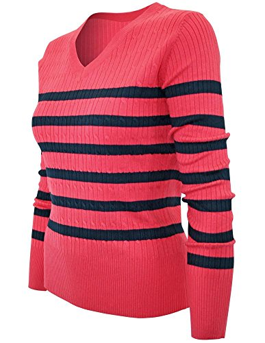 Cielo Women's Preppy Striped Stretch Cable Knit Pullover Sweater Coral Navy M