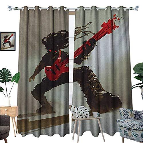 BlountDecor Fantasy Thermal Insulating Blackout Curtain Rocker Guitarist Playing Bass Headbanging Hipster Rock Display Red Eyes Art Print Patterned Drape for Glass Door W108 x L96 Red Grey