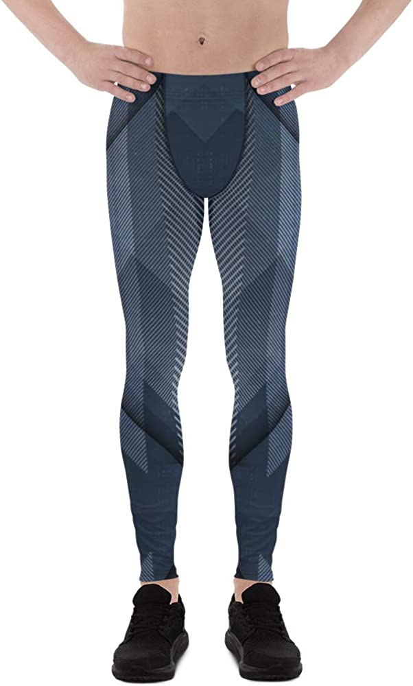 Cold Steel Leggings for Men Printed Metallic Abstract Texture Workout Meggings