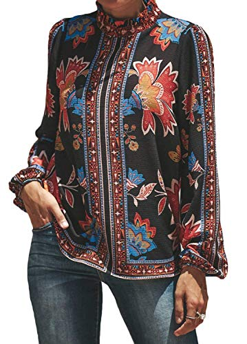 Juniors Tops and Blouses Casual Autumn Floral Flower Print Shirts Tops Blouse Black,S