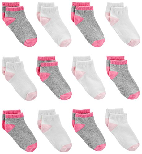 Simple Joys by Carter's Baby Girls' 12-Pack Socks, Pink/Gray/White, 12-24 Months