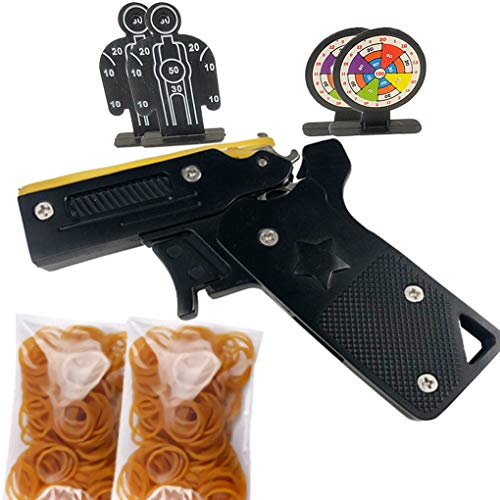 Automatic Rubber Band - Foldable Rubber Band Gun Metal Portable Folding Semi-Automatic Toy Kit Mini Burst Crossbow Repeater Pistol for Hunting Games for Kids and Adults