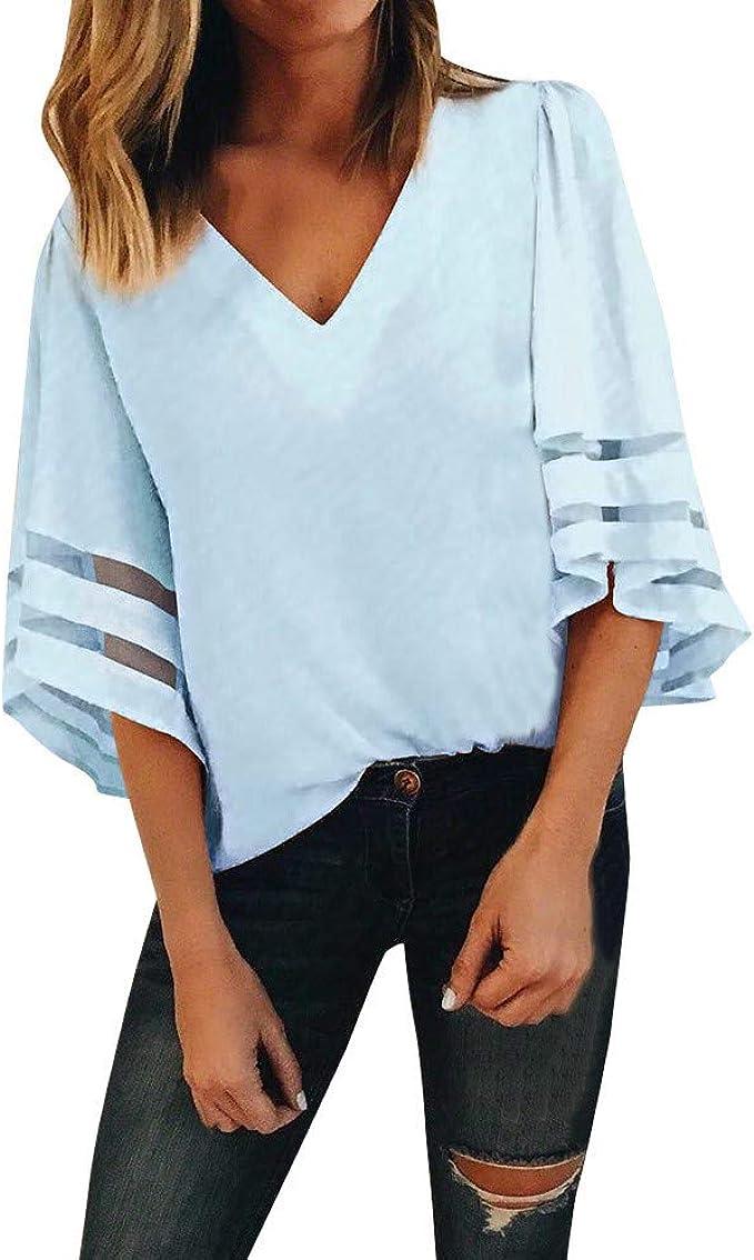 Longra Camicetta Elegante Donna T Shirt A Righe Maglia Manica Lunga Estate Taglie Forti Camicie Lunghe Maniche Corta Maglietta Casual Shirt in Pizzo