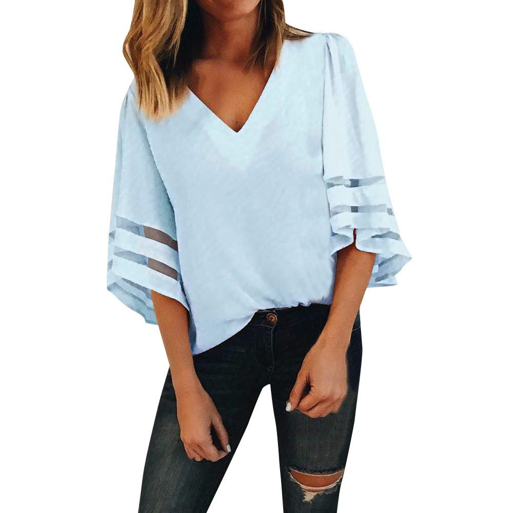 Keepfit Women V Neck Top Blouse, Half Sleeve with Mesh Panels Pullover Fashion T Shirt Jumper KT-New-3438