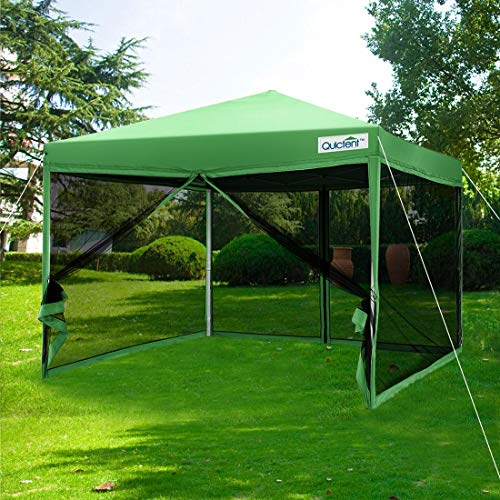 Quictent 8x8 ft Ez Pop up Canopy with Netting Pop up Screen House Tent with Mesh Sides Walls (Green)