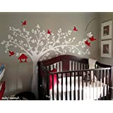 "PopDecors - Big tree with love birds (100"" W) - Custom Beautiful Tree Wall Decals for Kids Rooms Teen Girls Boys Wallpaper Murals Sticker Wall Stickers Nursery Decor Nursery Decals"