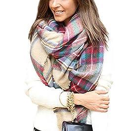 Women's Blanket  Scarf Wrap Shawl Plaid Cozy Checked Pashmina