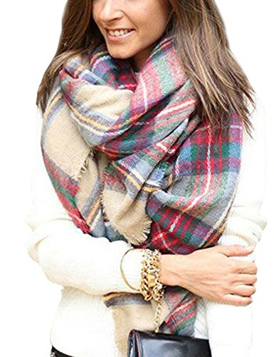 (Dora Bridal Lady Women Blanket Oversized Tartan Scarf Wrap Shawl Plaid Cozy Checked Pashmina (One Size, Blush))