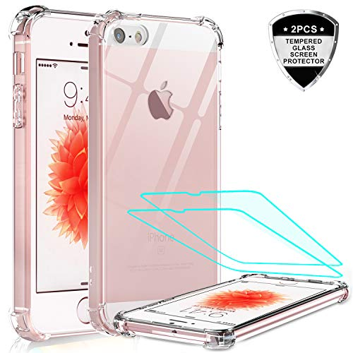 iPhone se Case, iPhone 5s Case, iPhone 5 Case with Tempered Glass Screen Protector [2 Pack], LeYi Silicone Shockproof Crystal Clear Hard PC Full-Body Slim Protective Phone Cases for iPhone 5/5s/se/se2 (Best Quality Iphone 5s Cases)