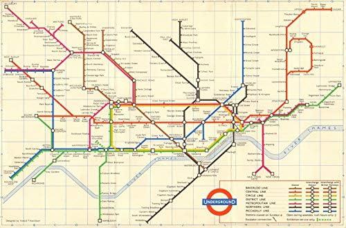 LONDON UNDERGROUND MAP CITY WALL ART CANVAS PRINT FRAMED Various sizes