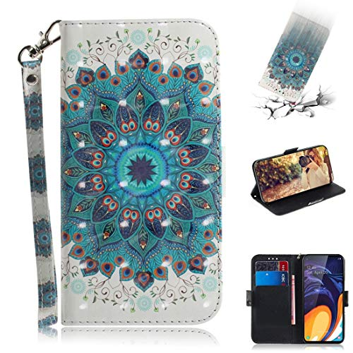 Beautiful Cases & Covers 3D Colored Drawing Peacock Wreath Pattern Horizontal Flip Leather Case for Galaxy A60, with Holder & Card Slots & Wallet