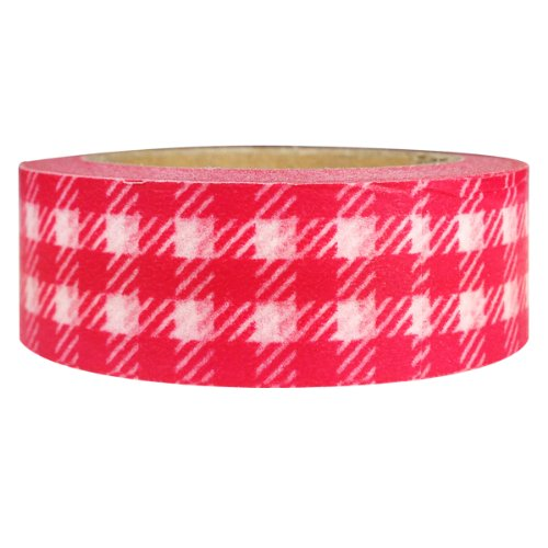 Wrapables Plaid Pattern Japanese Washi Masking Tape, Red (Pattern Decorative Masking Tape)