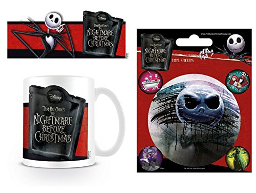 1art1 Set: The Nightmare Before Christmas, Jack Banner Photo Coffee Mug (4x3 inches) and 1 The Nightmare Before Christmas, Sticker Adhesive Decal (5x4 inches)