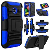 Moto E (1st Gen.) Case, EC™ High Impact Rugged Armor Hybrid Holster Shockproof Case Cover with Kickstand + Belt Swivel Clip for Moto E (1st Gen.) XT1021 / XT1022 / XT1025 (Black/Blue)