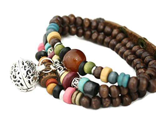 Destination Oils Tribal Wooden Bead Wrap Essential Oil Diffuser Bracelet/ Choker ()