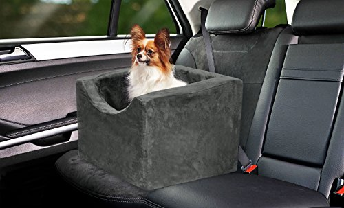 Precious Tails Gray Pet Booster Car Seat High Density Foam with Safety Strap Medium