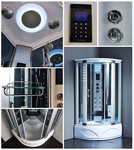 Bath Master 8004-AS Home Luxury Bathtub Spa Sauna, Corner Steam Shower Room With LCD Display, LED Lights, FM Radio, Body Massage Jets Acupuncture Massage, Aromatherapy, Overhead Rainfall Shower Head