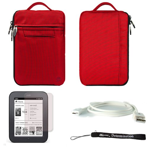 Red Mighty Nylon Jacket Slim Compact Protective Sleeve Bag Case with accessories compartment for Barnes & Noble NOOK Simple Touch eBook Reader BNRV300 (Nook 2nd Generation Release 2011 Model )+ a White Micro USB Cable + a Anti-Glare Screen Protector + Includes 4-inch ebigvalue Determination Hand Strap (Nook Cover 2nd Generation)