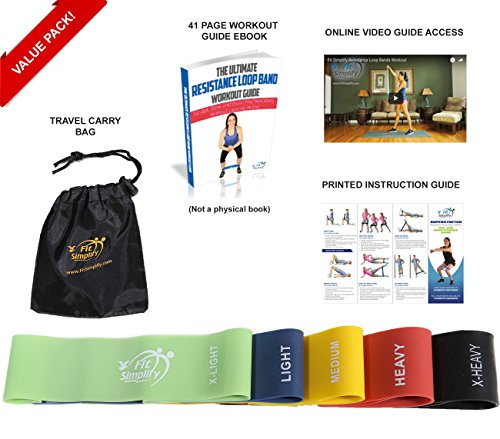 Fit-Simplify-Resistance-Loop-Exercise-Bands-with-Instruction-Guide-Carry-Bag-EBook-and-Online-Workout-Videos-Set-of-5