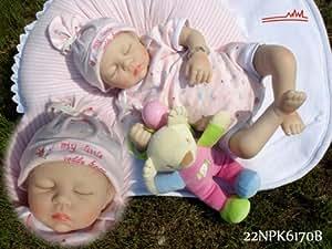 Reborn Doll Isabella Lifelike Baby Doll(eyes:closed) 22 Inch