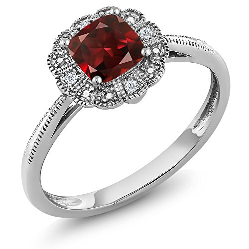 Gem Stone King 10K White Gold Red Garnet and Diamond Accent Women's Ring (Cushion Cut Gemstone Birthstone Available in (Size 7) ()