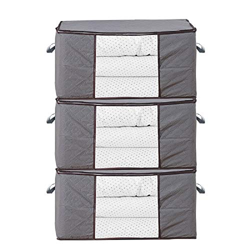 Mr.floral Breathable Clothing Blankets Storage Bag Organizer with Handle and Clear Window for Comforter Storage Bins Storage Bags Sweater Storage Clothes Storage Containers, 3pc Pack, Gray