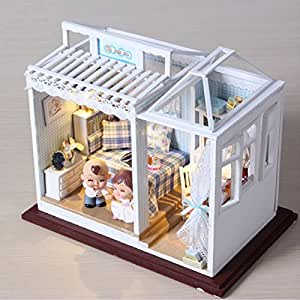 BEAUTY'S CASTLE DIY Blue Dreams Wooden Dollhouses With LED Lights Miniature Furniture Kit 3D Puzzle Crafts Toy And Wooden Frame For Creative Birthday Gift Home Decor