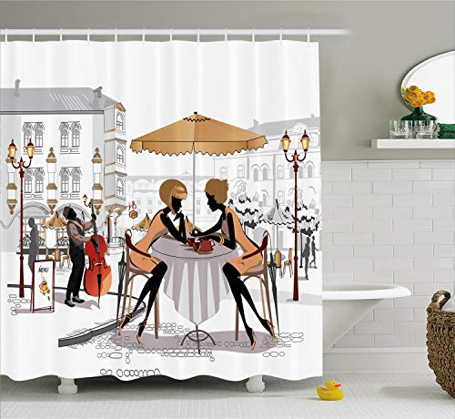 Fashion House Decor Shower Curtain by Ambesonne, Two Lady in Cafe in Old Town Street Musician Urban Fashion Theme, Fabric Bathroom Decor Set with Hooks, 70 Inches, Yellow White ()