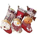ODOSAN 3 Pcs Set Large Classic 3D Christmas Stockings Cute Santa Snowman & Elk