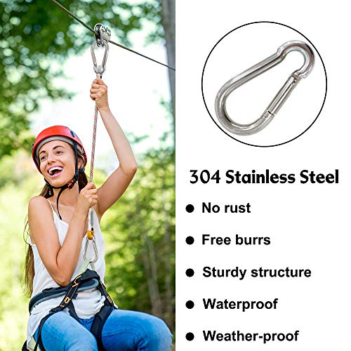 GoosWexmzl 6Pcs Stainless Steel Spring Snap Hook Carabiner, Small Carabiner, Stainless Steel Clips for Flags Climbing