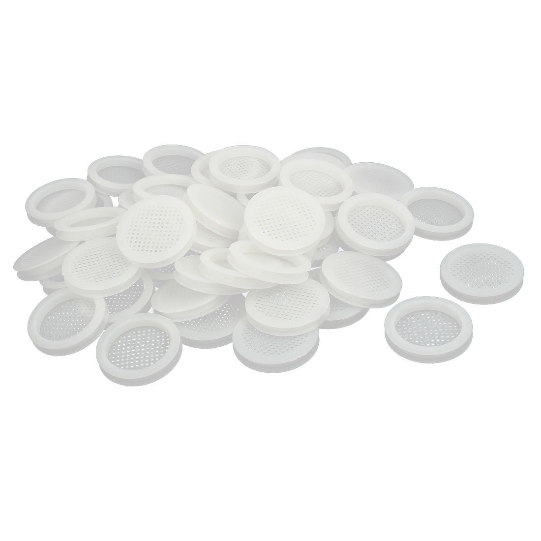 uxcell Shoes Cabinet 67mm Dia 8mm Plywood Thickness Plastic Air Vent Louver Cover 50pcs