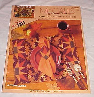 Mccall's Creates Quick Country Patch Autumn Leaves 3 Fall Placemat Designs Fabric Craft Book (Placemat Mccalls)