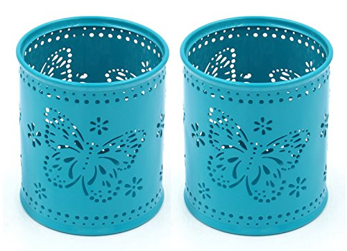 Butterfly Makeup (EasyPAG 2 Pcs 3-1/4 inch Dia x 3-3/4 inch High Round Desk Pen Holder Cute Butterfly Pattern Design,Dark Teal)
