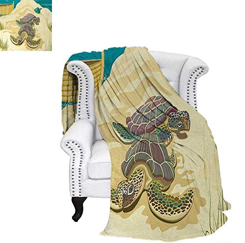 Sandy Turtle - Digital Printing Blanket Illustration of Two Sea Turtles on Sandy Summer Beach Boat Grass Bottle Summer Quilt Comforter 70