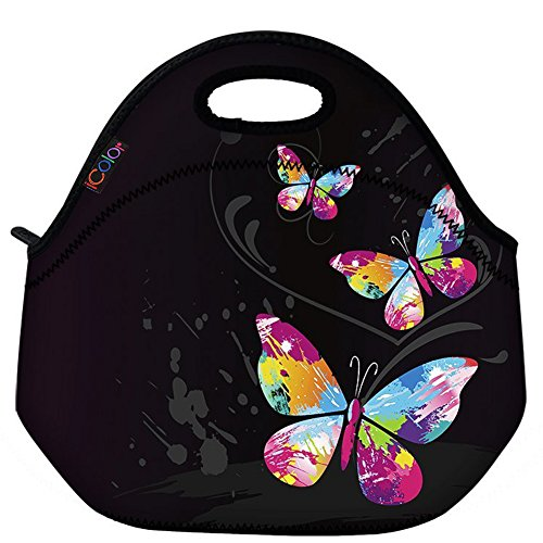 Butterfly Lunch Bag (ICOLOR Cute Three Butterflies Insulated Neoprene Lunch Bag Tote Handbag lunchbox Food Container Gourmet Tote Cooler warm Pouch For School work Office)