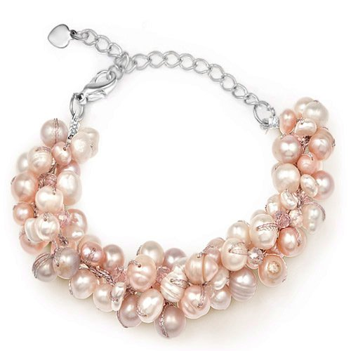 Silk Thead and Pink Cultured Freshwater Pearl Cluster Bracelet