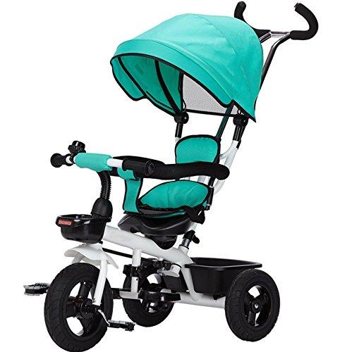 三輪車の赤ちゃんキャリッジバイク子供のおもちゃの車のチタンの空の車輪の自転車3つの車輪、保護的な天井、シートステアリング(ボーイ/ガール、1-3-5歳) (色 : 緑) B07DVKMS3C緑