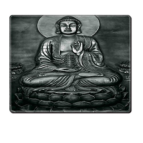 Price comparison product image Mouse Pad Unique Custom Printed Mousepad Buddha Decor Collection Carving Of Buddha On Lotus Flower Ethnic Decorative Home Ying Yang Far Eastern Style Design Gray Stitched Edge Non Slip Rubber