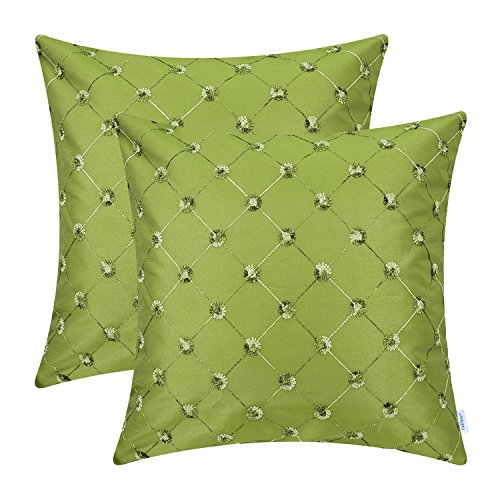 (CaliTime Pack of 2 Cushion Covers Throw Pillow Cases Shells for Sofa Couch Home Decoration 20 X 20 Inches Modern Diamonds Shape Geometric Chain Embroidered Olive Green)