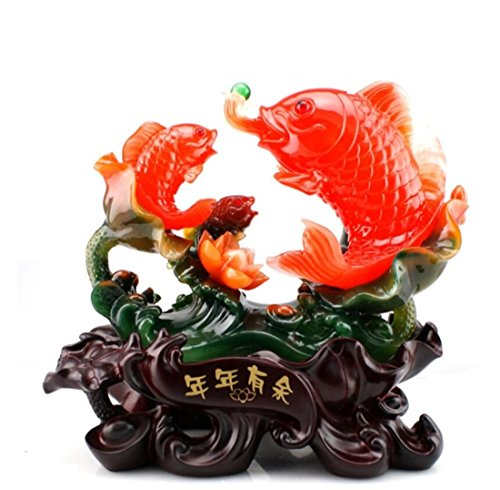 GL&G Lucky fish auspicious Decorations Home Marriage room Decoration living room Tabletop Scenes Ornaments Keepsakes Crafts High-end Business gift,331831CM by GAOLIGUO