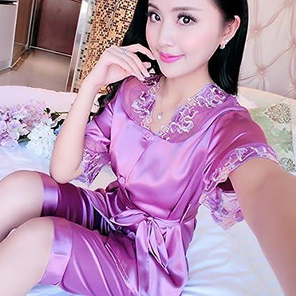 Wanglele Mujeres De Mediana Edad Pijama De Manga Corta De Verano Señoras Trajes De Verano Batas