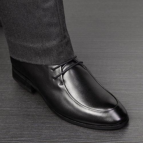WZG juegos de negocio de los nuevos hombres zapatos casuales de cuero transpirable hombres británicos señalaron los zapatos Black