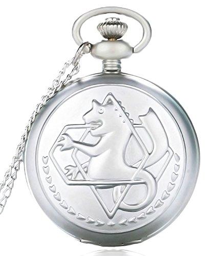 FullMetal Alchemist Edward Anime Quartz Pocket Watch Fob Chain + Gift Box (Silver) by New Brand Mall