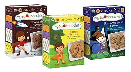 MySuperCookies, Blueberry Vanilla/Chocolate/Honey Heroes Variety, (Organic, Whole Grain & Nut Free) 6.25oz (3 pack) -