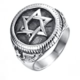 PAURO Men's Stainless Steel Medallion Style Star of David Ring with Flying Eagle Side Pattern
