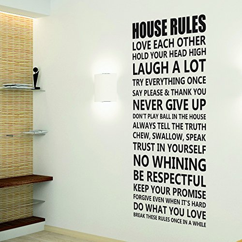 House Rlues Best Black Quote Removable Home Room Decoration Wall Sticker Free (Vans Shipping Tracker)